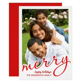 Merry Hand Script Bold Lettered Christmas Photo 11 Cm X 16 Cm Invitation Card