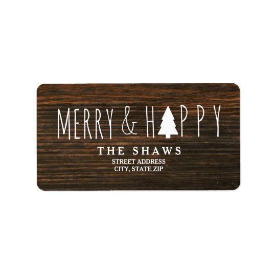 Merry & Happy Barnwood Christmas Tree Address Label