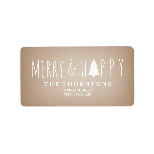Merry & Happy Cardstock Christmas Tree Address Address Label