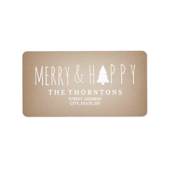 Merry & Happy Cardstock Christmas Tree Address Label
