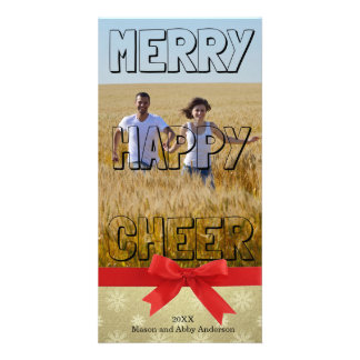 Merry Happy Cheer Black Block - Photo Card