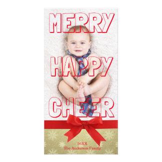 Merry Happy Cheer Red Block - Photo Card