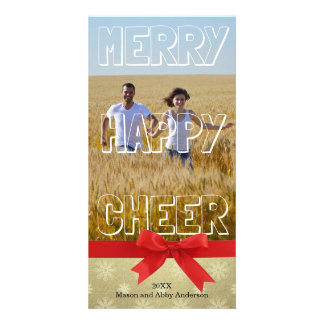 Merry Happy Cheer White Block - Photo Card