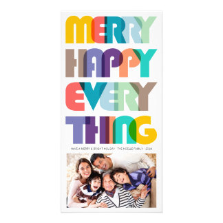 Merry Happy Everything Colorful Holiday Greetings Photo Cards