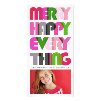 Merry Happy Everything Colorful Holiday Greetings Customized Photo Card