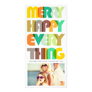Merry Happy Everything Colorful Holiday Greetings Photo Card