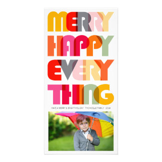 Merry Happy Everything Colorful Holiday Greetings Custom Photo Card