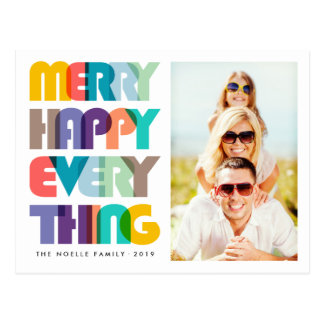 Merry Happy Everything Colorful Holiday Postcard