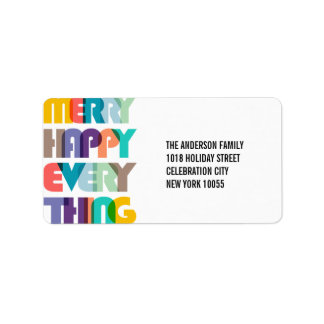 Merry Happy Everything Holiday Address Labels