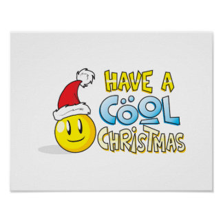Merry Have a Cool Christmas Card Wrapper Pillows Poster