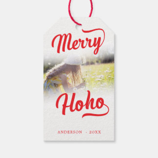 Merry Ho Ho Feathered Edges Photo Template Gift Tags