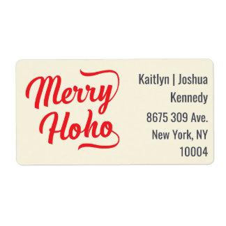 Merry Ho Ho Red Script Overlay Festive Christmas Shipping Label