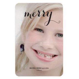 Merry Holiday Photo Simple Christmas Script Black Rectangular Photo Magnet