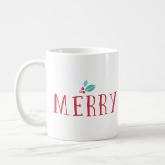 Merry Holly Berries Christmas Coffee Mug