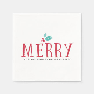 Merry Holly Berries Christmas Paper Napkin