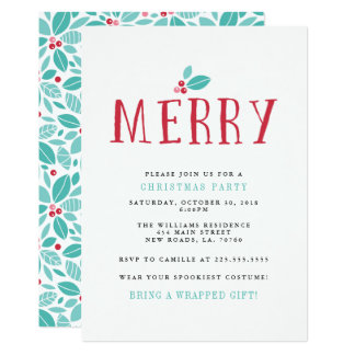 Merry Holly Berries Christmas Party Card