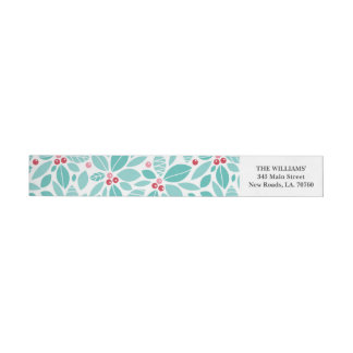 Merry Holly Christmas Wrap Envelope Label