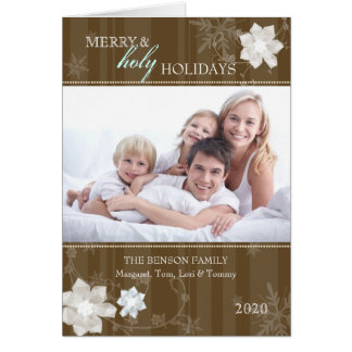Merry Holy Holidays Floral Family Folded PhotoCard Greeting Card