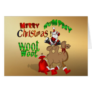 Merry Hump Day Christmas Camel Gold Woot Woot Greeting Card