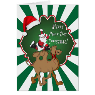 Merry Hump Day Christmas Camel Green Starburst Greeting Card