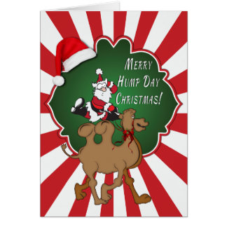 Merry Hump Day Christmas Camel Red Starburst Greeting Card