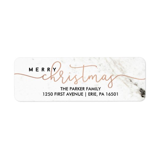 Merry in Marble | Christmas Typography Return Address Label