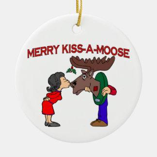 Merry Kiss A Moose Ceramic Ornament