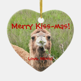 Merry Kiss-mas!  Love, Mona! Ceramic Ornament