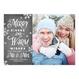 Merry Kisses and Warm Wishes Mr. Mrs. Holiday Card