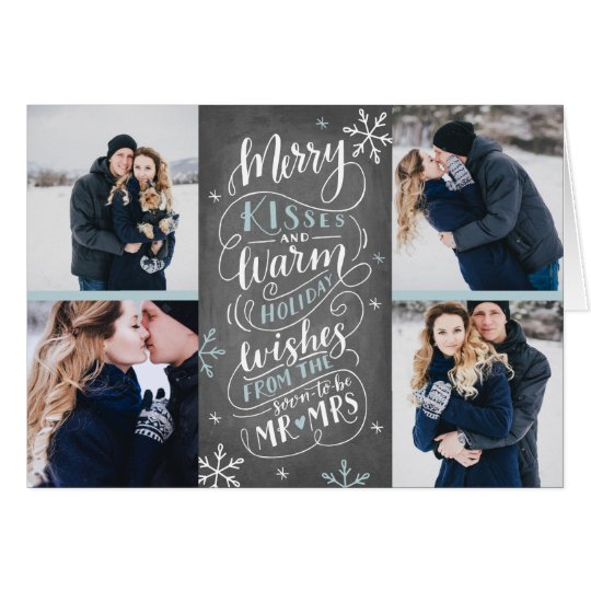 Merry Kisses Warm Wishes Save Date 4 Photo Folded Card