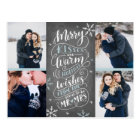 Merry Kisses Warm Wishes Save The Date 4-Photo Postcard