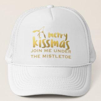 Merry Kissmas Mistletoe Kissing Trucker Hat