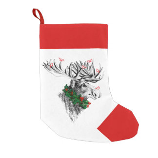 Merry Krismoose Birds Personalized Stocking Small Christmas Stocking
