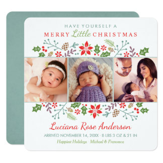 Merry Little Christmas | Baby's First Photo Card 13 Cm X 13 Cm Square Invitation Card
