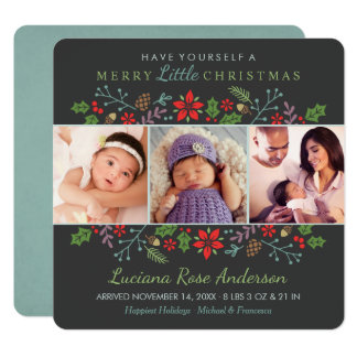 Merry Little Christmas   Baby's First Photo Card 13 Cm X 13 Cm Square Invitation Card