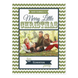 Merry Little Christmas Chevrons Holiday Postcard