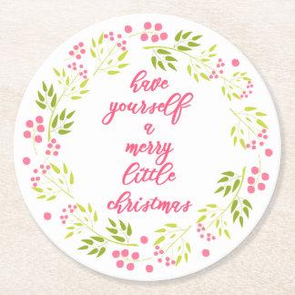 Merry little Christmas Flower Wreath Paper Coaster