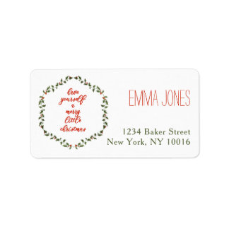 Merry Little Christmas Holly Wreath Address Labels