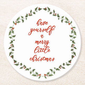 Merry little Christmas Holly Wreath Paper Coasters