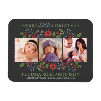 Merry Little Christmas | Photo Birth Announcement Rectangular Photo Magnet