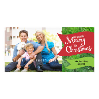 Merry Little Christmas, Photo of Pine Branches Customized Photo Card