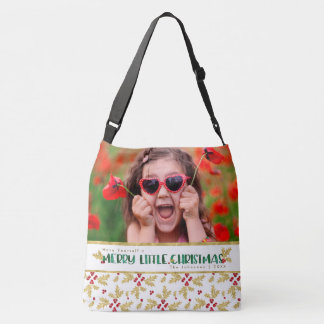 Merry Little Christmas Red Gold Green Watercolor Crossbody Bag