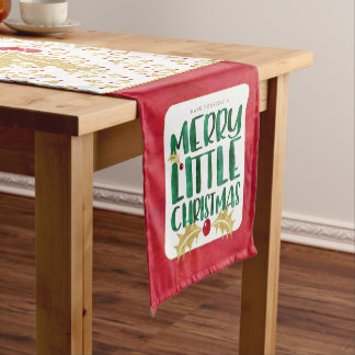 Merry Little Christmas Red Gold Green Watercolor Short Table Runner