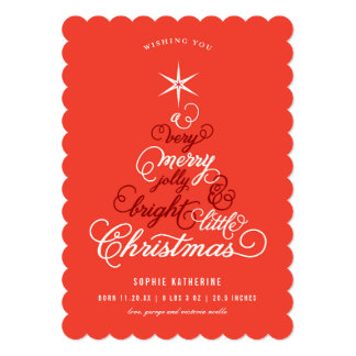 Merry Little Christmas Tree Baby Announcement Card
