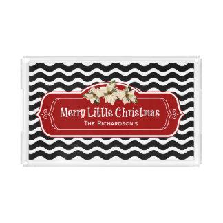 Merry Little Christmas Wavy Chevron Poinsettia Acrylic Tray