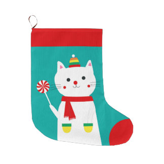 Merry Lollipop Personalized Kitty Cat Large Christmas Stocking