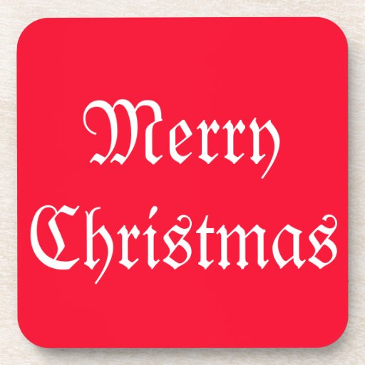 Merry Merry Christmas Designer Bright Red Xmas Beverage Coaster
