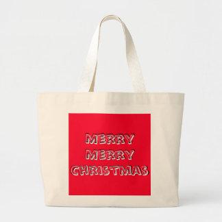 Merry Merry Christmas Designer Bright Red Xmas Jumbo Tote Bag
