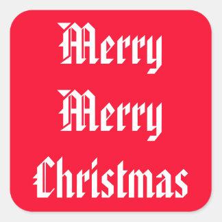 Merry Merry Christmas Designer Bright Red Xmas Stickers
