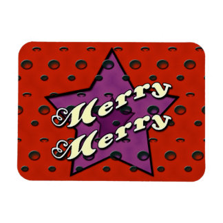 Merry Merry Red Star Rectangle Magnets